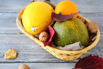 Raw pumpkins in a basket