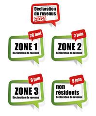 déclaration de revenus 2014 - zone 1, zone 2, zone 3