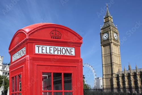 London telephone box big ben Poster