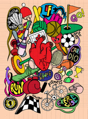 Hand drawn doodle sport Background, illustrator line tools draw