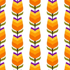 Pattern ornament tulips Spring crocus seamless