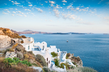 Beautiful view of Oia town at sunset.