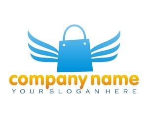 bag sac shopping bag blue wing logo image vector