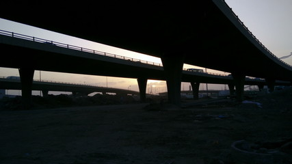 sunset from under the bridges