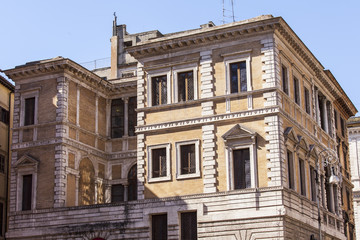 Rome, Italy. Architectural fragments of typical city buildings