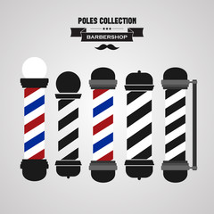 Barber shop vintage pole icons set