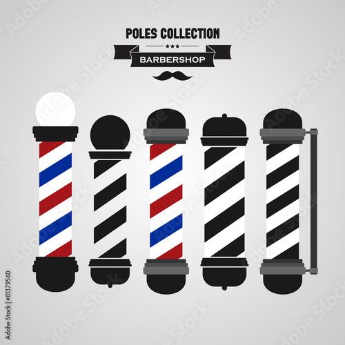 Barber shop vintage pole icons set Plakat