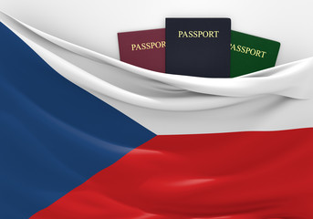 Travel and tourism in Czech Republic, with assorted passports