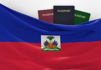 Travel and tourism in Haiti, with assorted passports