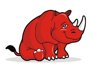 rhino red character mascot image vector