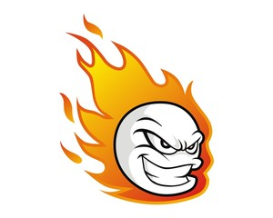 fire flame ball character mascot image vector