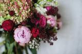 Beautiful bright wedding bouquet of hydrangea, peonies
