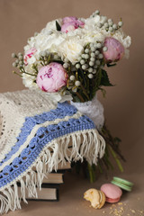Beautiful bright wedding bouquet of hydrangea, peonies to knit s