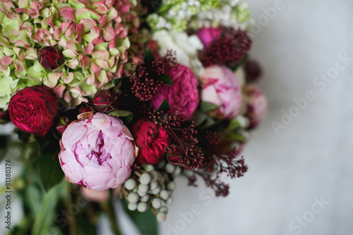 Deurstickers Hydrangea Beautiful bright wedding bouquet of hydrangea, peonies