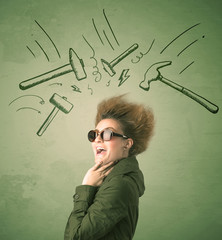 Tired woman with hair style and headache hammer symbols
