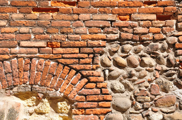 Ramshackle wall in Verona, the city of Romeo and Juliet. Italy.