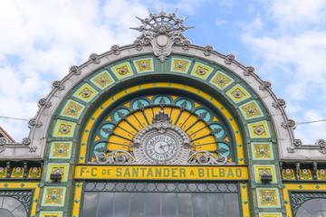 Facade of Abando train station, Bilbao (Spain)