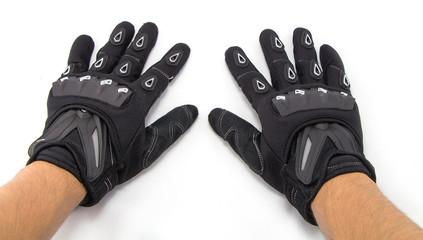 Black Motorcycle gloves isolated on white background