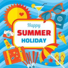 Happy summer holiday - vector banner in flat style design