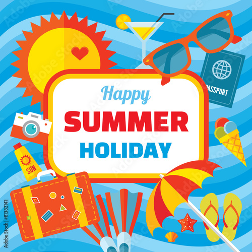 Happy Summer Holidays Banner Happy Summer Holiday Vector