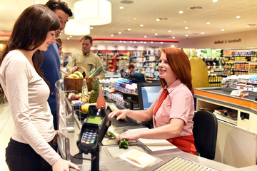 Shopping / Check out in supermarket store