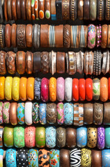 Wooden bracelets on a street market in Delhi, India