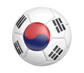 Soccer ball, or football, with the country flag of South Korea