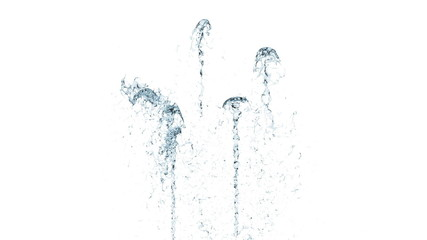 Small blue fountains on white background with alpha matte