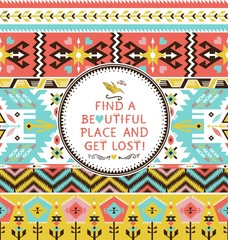 Vector seamless colorful tribal pattern