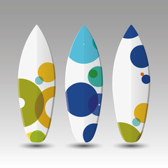Vector Surfboards Design Template with Colorful Spotted Pattern