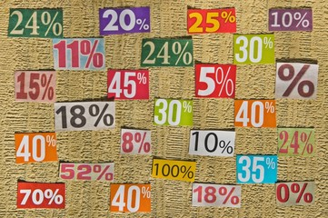 PERCENTAGES background made up of cut figures