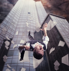 Businessman is falling down