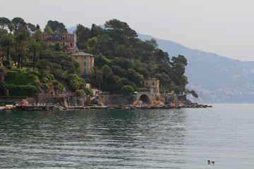 Resort on rocky coast. Santa Margherita Ligura, Genoa, Italy