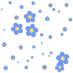 Seamless floral pattern on a white background.