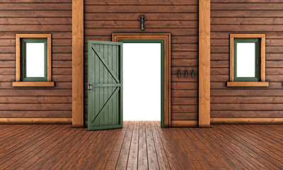Empty  entrance room of a wooden house