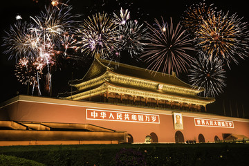 Night View of Tiananmen over fireworks