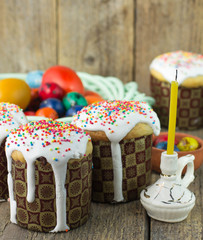 Easter cakes and painted eggs in a rustic style