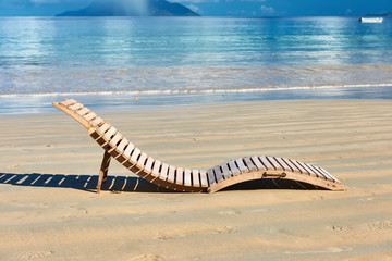 Beach with lounger at Seychelles