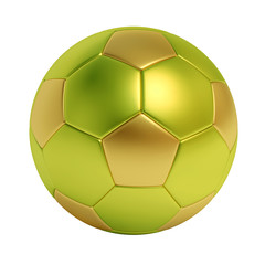Golden and green soccer ball isolated on white background