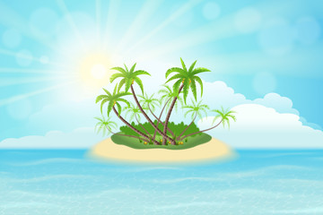 Paradise tropical island with palm trees, sky, clouds and sun