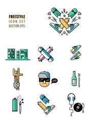 free style and free time icon set. young design.