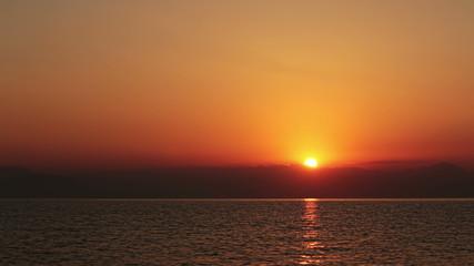 Sunrise over the Sea. 4k. Time Lapse.