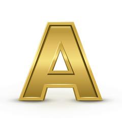 3d bright golden letter A