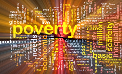 poverty wordcloud concept illustration glowing