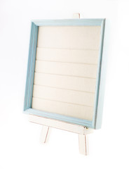 Light blue country rustic style wood frame with canvas on white