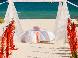 Wedding preparation on Mexican beach