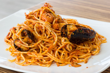 Plate of spaghetti with seafood