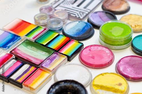 canvas print picture Sets of colorful face paints