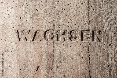 "Leinwanddruck Bild Impulswort ""WACHSEN"" am Brunnen im Klarahof Kollegium Stans"