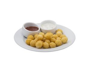 Potato balls with sauce